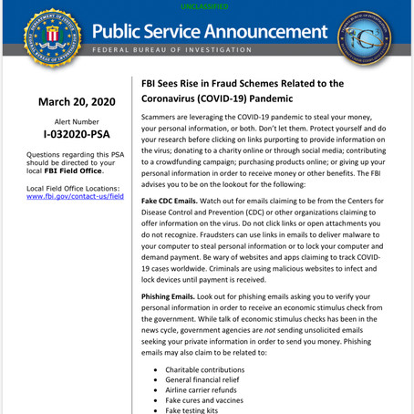 FBI Sees Rise in Fraud Schemes Related to the Coronavirus (COVID-19) Pandemic