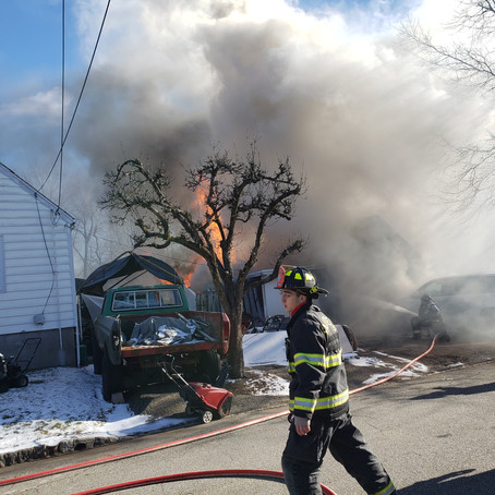 Fairfield Fire Department Battles Garage Fire in Bitter Cold