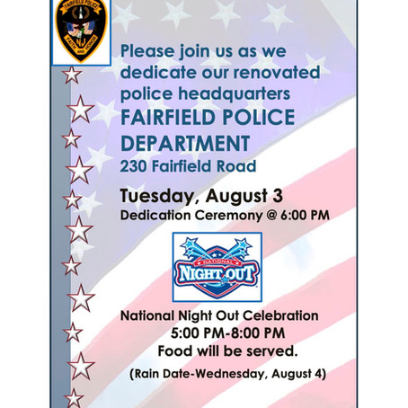 Fairfield Police to Host National Night Out Event and Re-Dedication of Police Headquarters