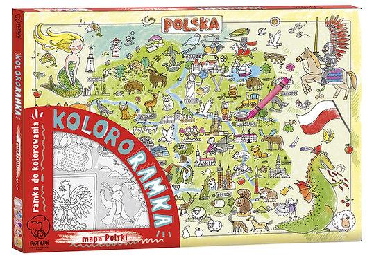 """Colouring Frame XXL  """"Map of Poland"""" MONUMI"""