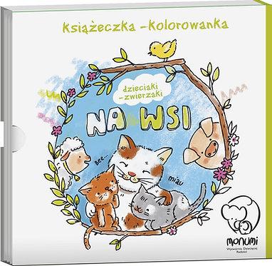 """Kolorowanka-harmonijka """"Dzieciaki - zwierzaki na wsi"""" MONUMI"""
