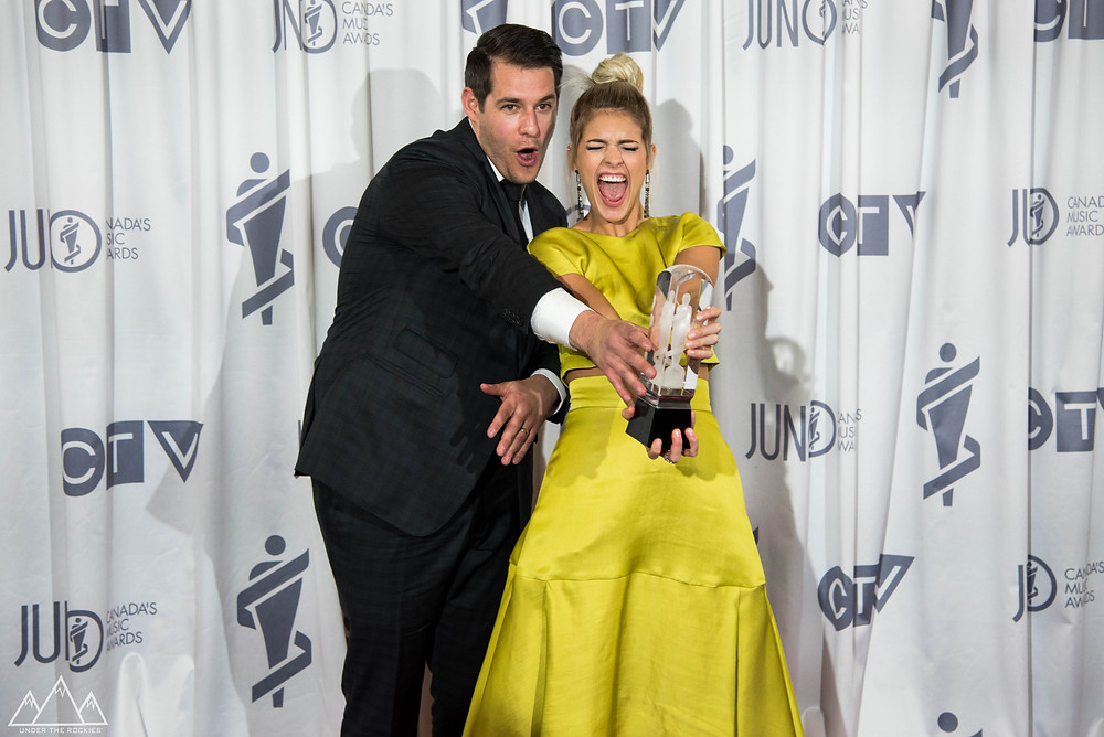 DEAR ROUGE PHOTOGRAPHED AFTER WINNING THE JUNO AWARD FOR BREAKTHROUGH GROUP OF THE YEAR.