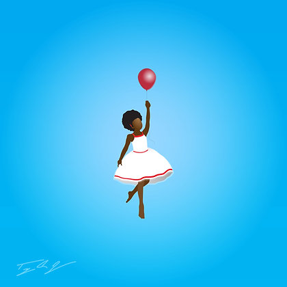 Young Black Girl with Red Balloon Canvas