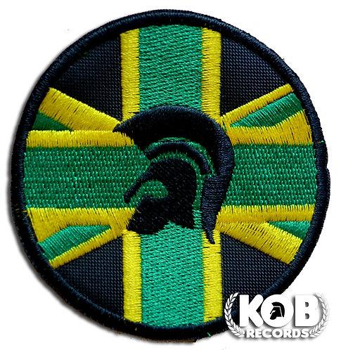 TROJAN HELMET JAMAICA FLAG Patch / Toppa
