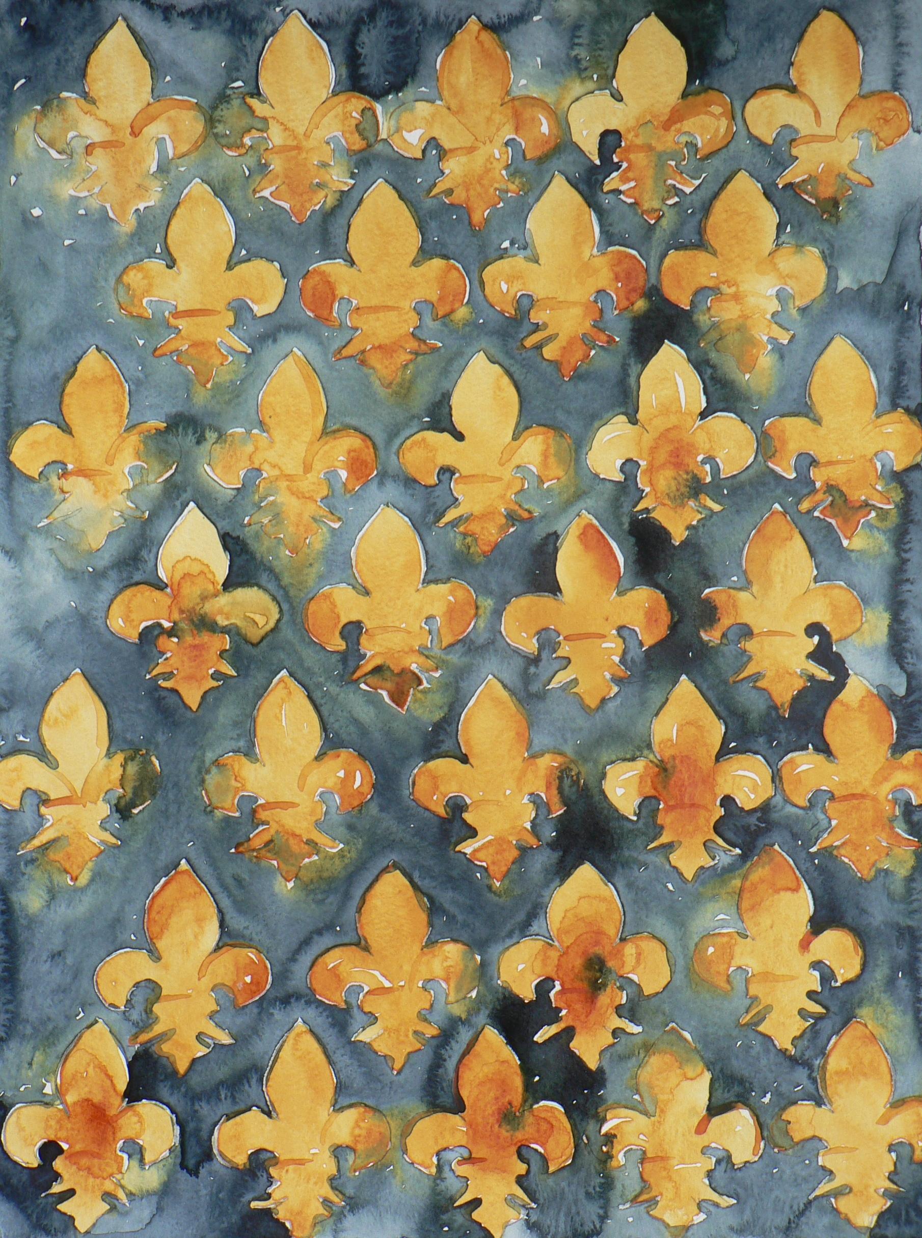 Fleur De Lis, Watercolor