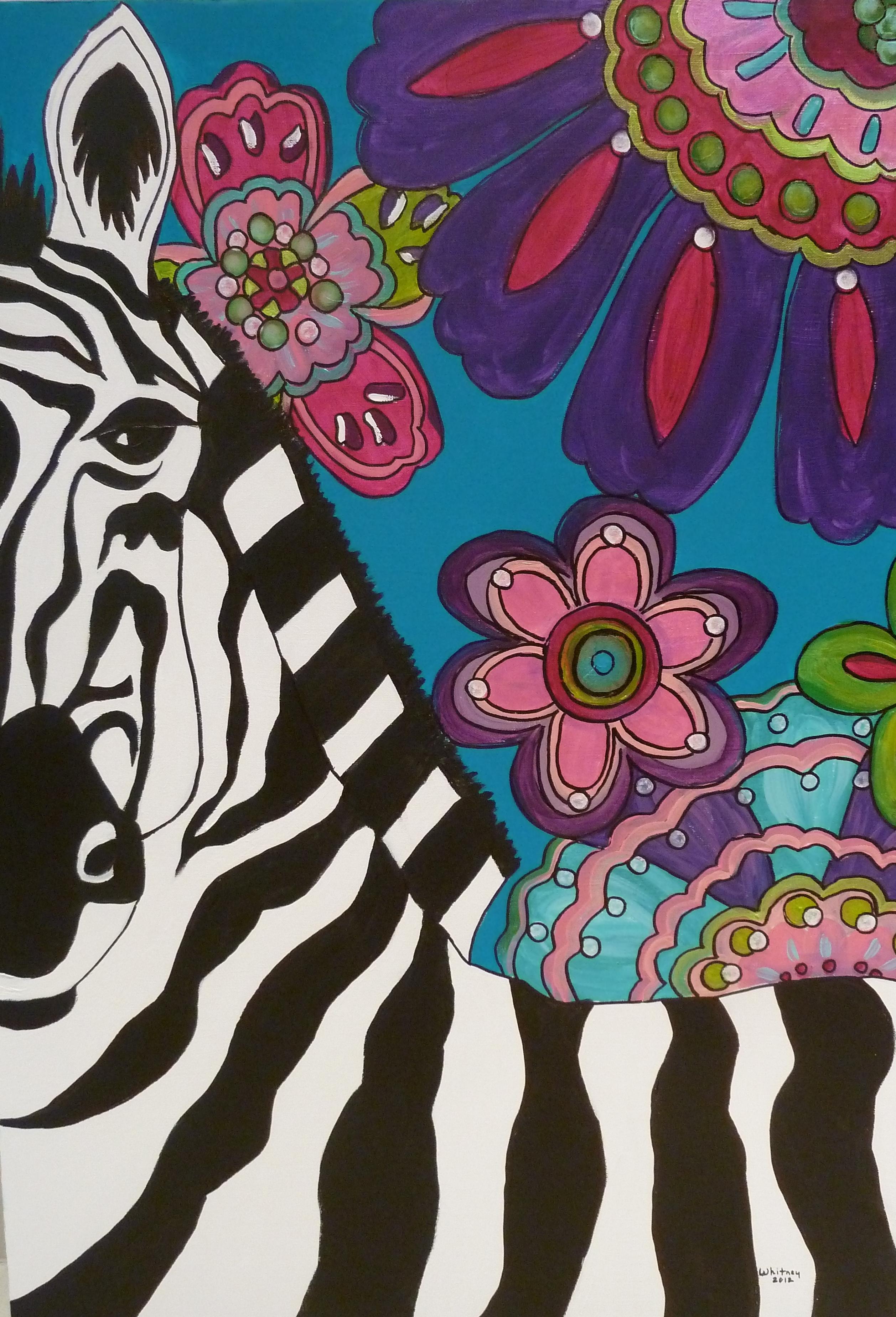 Flower Garden Zebra, Acrylic