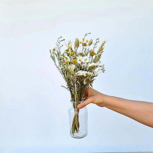 Le bouquet Blanc et Jaune  S + vase