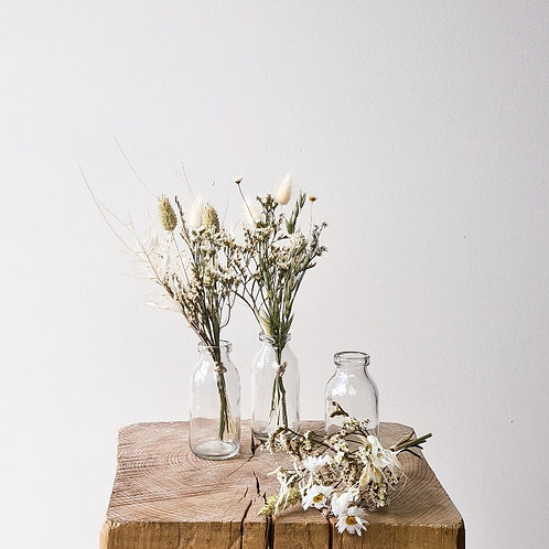 Le trio de mini bouquets blancs + vases