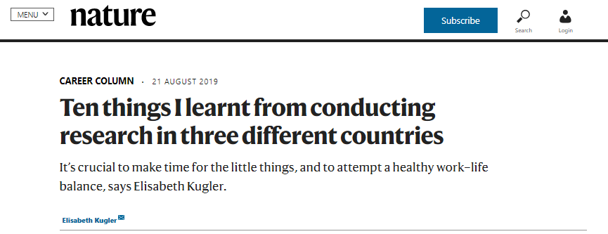 "Nature Career Column ""Ten things I learnt from conducting research in three different countries"""