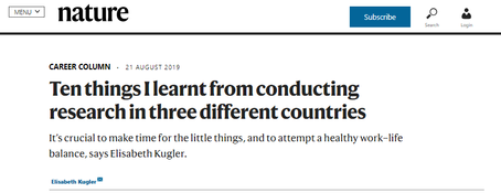"""Nature Career Column """"Ten things I learnt from conducting research in three different countries"""""""