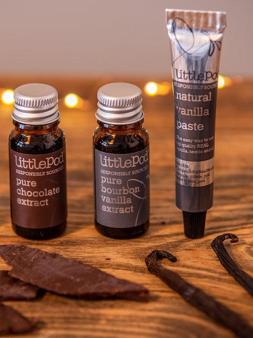 リトルポッド製品ミニセット(バニラペーストミニ1本/チョコレートエクストラクトミニ1瓶/バニラエクストラクトミニ1瓶)
