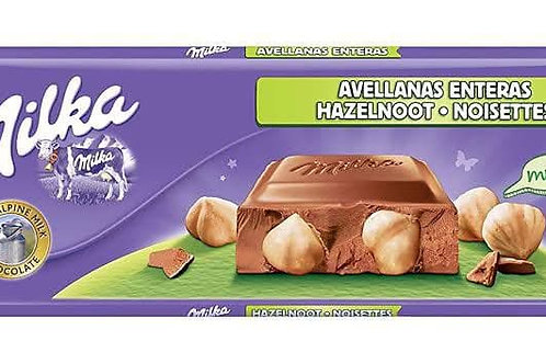 milka avellanas enteras hazelnoot noisettes