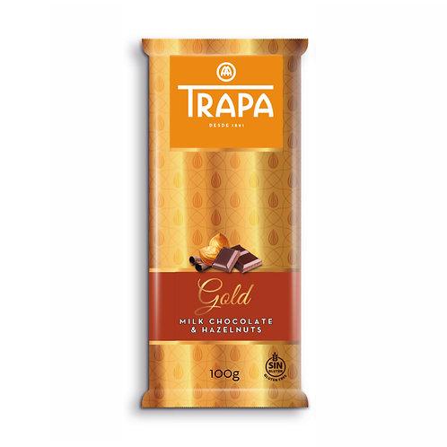 TRAPA Gold MILK CHOCOLATE & HAZELNUT 100G