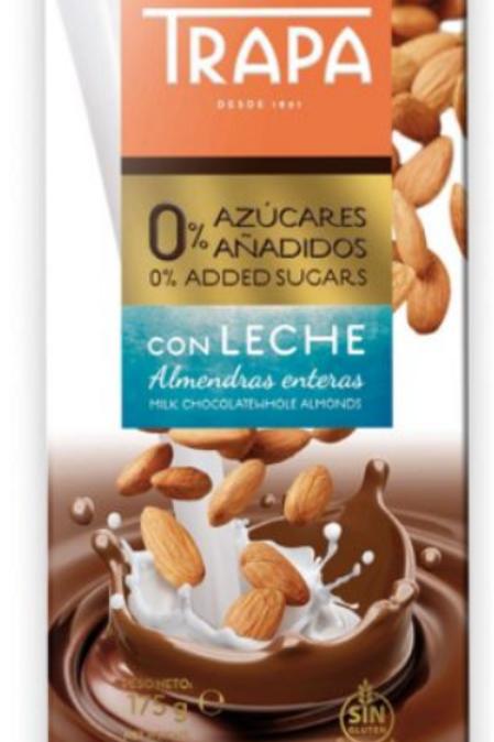 TRAPA MILK CHOCOLATE WHOLE ALMOND 175G