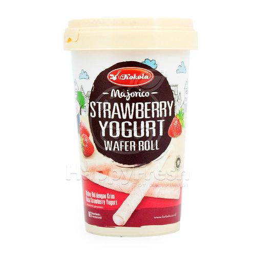 kokola majorico wafer roll strawberry yogurt