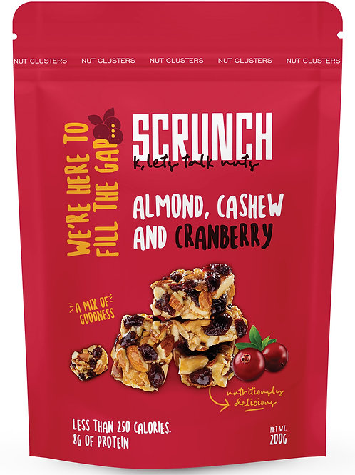 Scrunch belgian chocolate with almond and cranberry