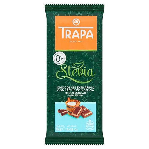 TRAPA Stevia CHOCOLATE EXTRAFINO CON LECHE CON  MILK CHOCOLATE WITH STEVIA 75 G