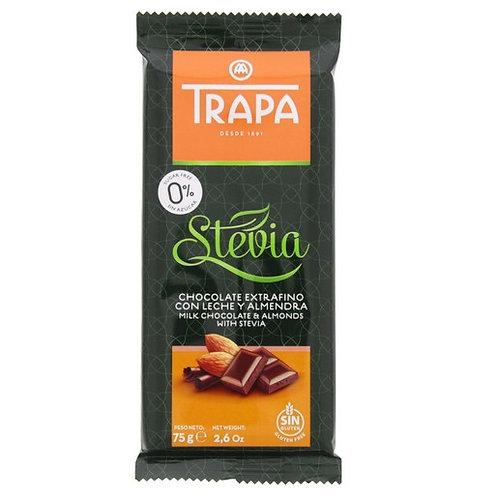 TRAPA Stevia CHOCOLATE EXTRAFINO ALMENDRA MILK CHOCOLATE &ALMOND 75 G