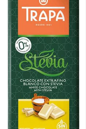 TRAPA Stevia CHOCOLATE EXTRAFINO BLANCO CON  WHITE CHOCOLATE WITH STEVIA 75G