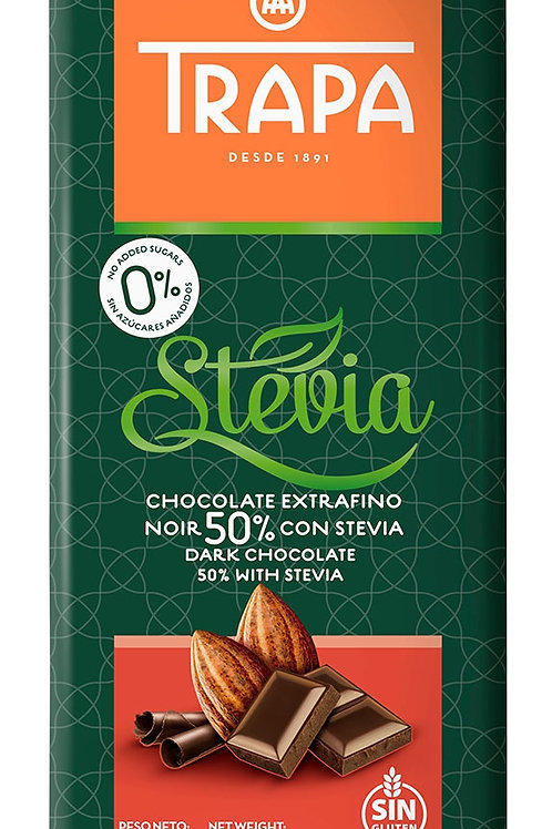 TRAPA  CHOCOLATE EXTRAFIN  50% CON STEVIA DARK CHOCOLATE 50% WITH STEVIA 75 G