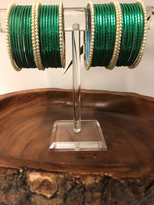 Sea Green Pearl Bangle Set