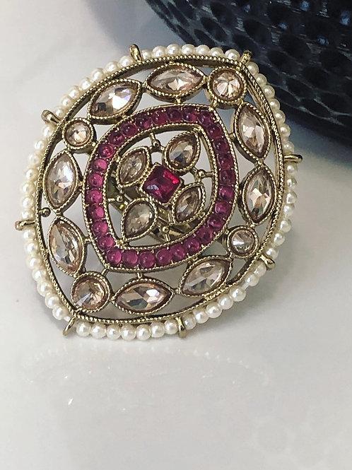 Hot Pink Large Polki Ring