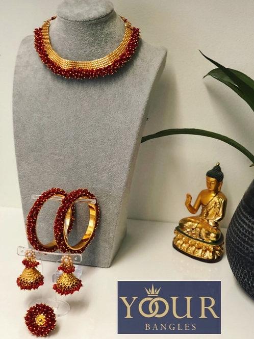 KHUSHI Red Polki Choker Necklace Set