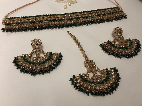 KRITIKA Emerald Green Choker Necklace Set