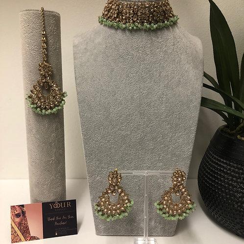 MISHKA Designer Floral Mint Choker Set