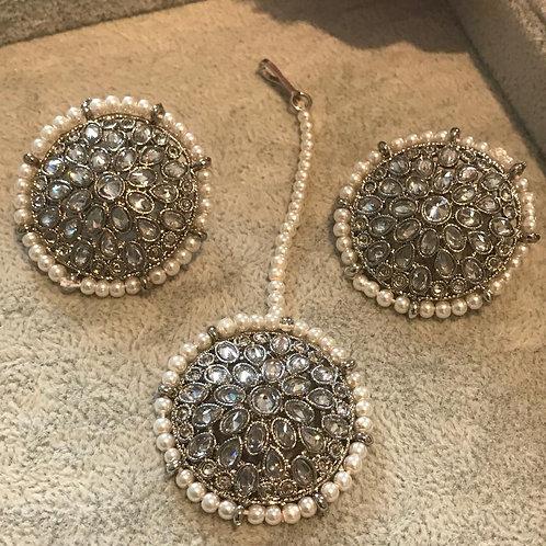 White/Silver Earring & Tikka Set