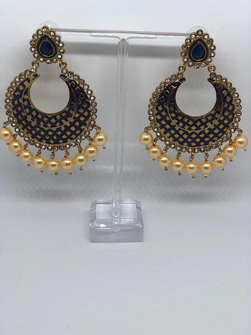 PARI Black Earrings (Hand Painted)