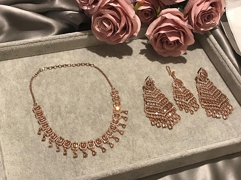 Champagne Gold Cubic Zirconia Necklace, Earring & Tikka Set (with Polki)