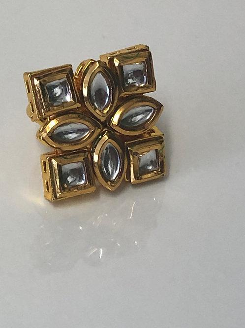 Kundan Style Adjustable Ring