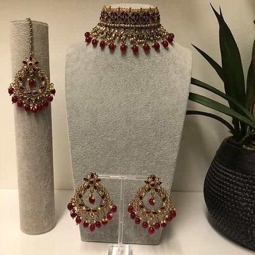 PALAK Maroon Choker Necklace Set