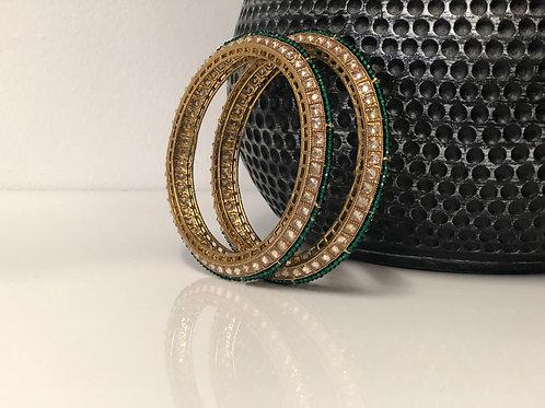 SIYA Emerald Green Kangans - Set of 4