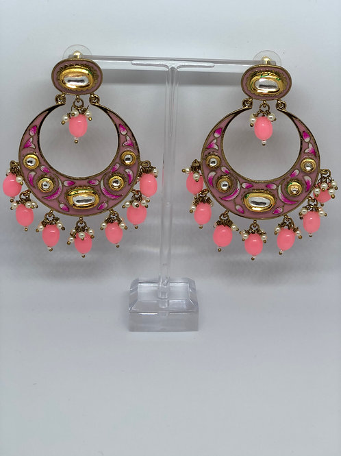 Pink Kundan, Meenakari Earrings (Hand Painted)