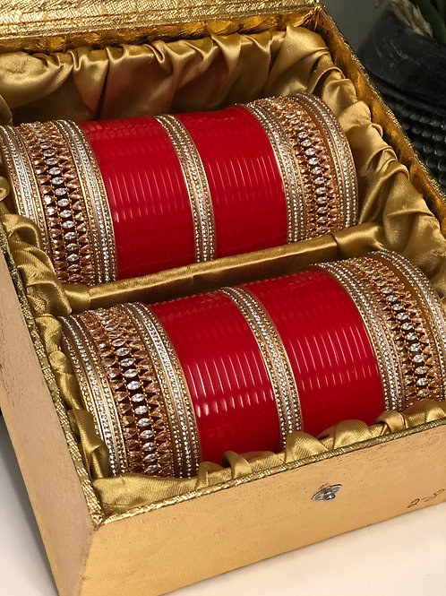 "AD CHOORA - GOLDEN / RED ""TANISHQ"" BRIDAL CHOORA BANGLE SET"