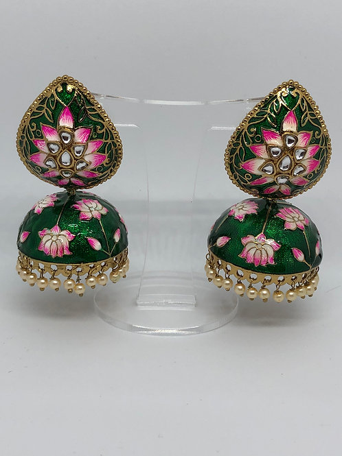 ALISSA Emerald Green MEENAKARI (Hand Painted) Earrings