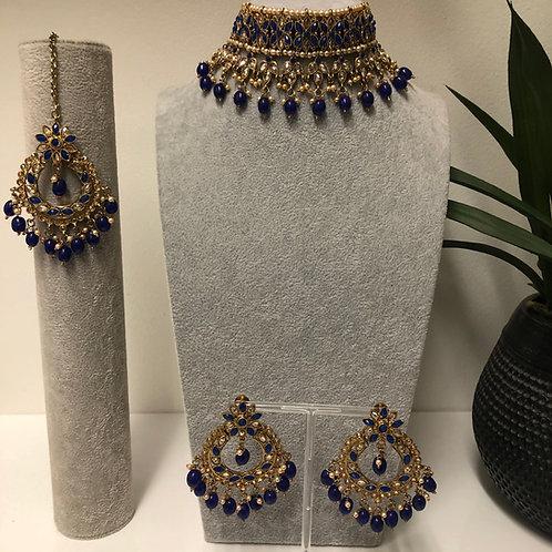 PALAK Royal Blue Choker Necklace Set