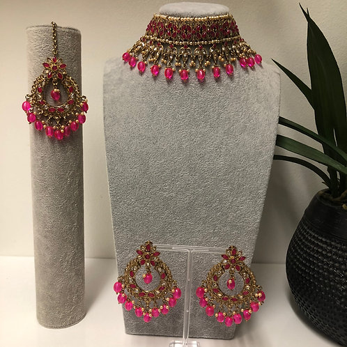 PALAK Hot Pink Choker Necklace Set