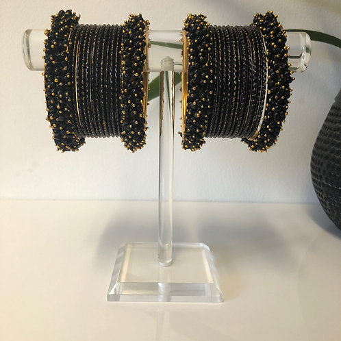 REGAL Black Polki Bangle Set