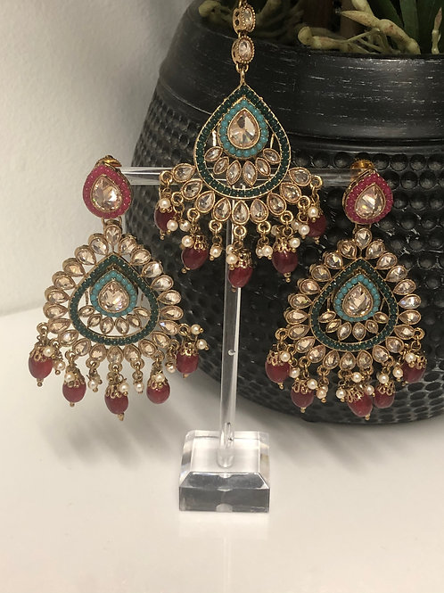KRITIKA Multi Tikka & Earrings