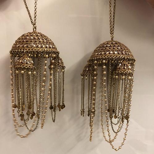 DESIGNER PAIR OF ANTIQUE GOLD 'HEER' BRIDAL KALEEREIN