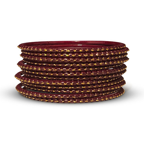 36 Maroon Dotted Bangles