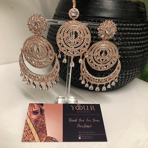 Rose Gold Earring Tikka Set