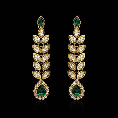Festive Special Green Color Kundan Earrings