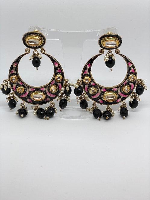 Black Kundan, Meenakari Earrings (Hand Painted)