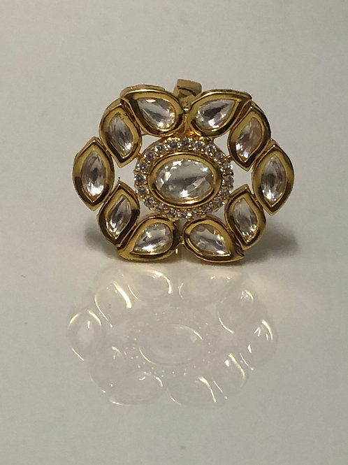 Antique Gold Statement Kundan Style Ring