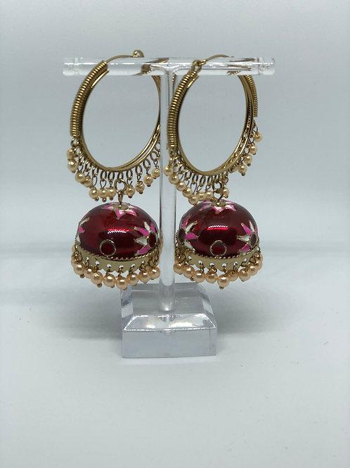 Red MEENAKARI Jhumki Earrings