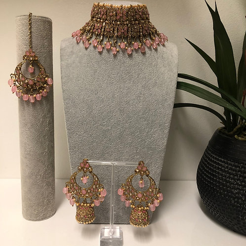 KIARA Pink Double Choker Necklace Set